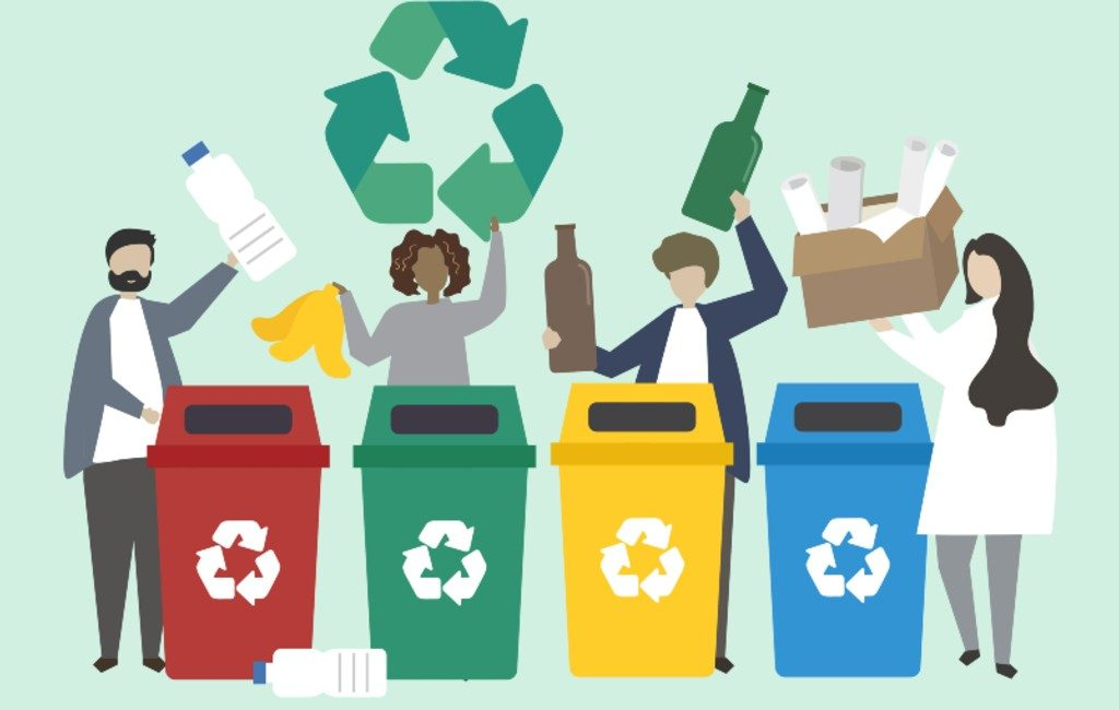 4 mensen op een rijtje die aan hun afval aan het scheiden zijn.