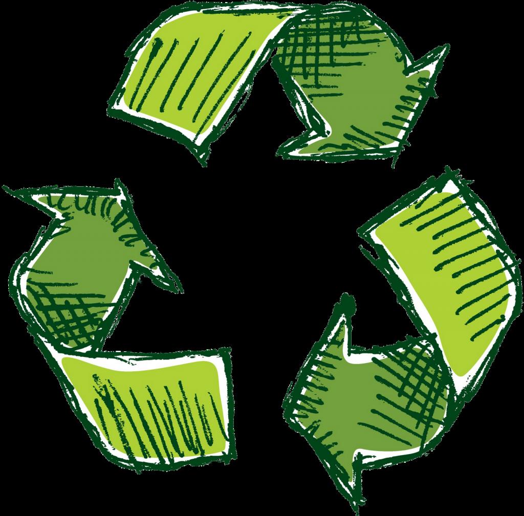 Groene pijlen die naar elkaar wijzen (recycling teken)